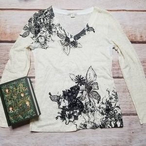 Coldwater Creek Long Sleeve Floral Tee